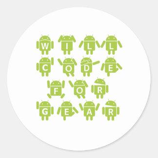 Will Code For Gear (Bugdroid Software Developer) Round Sticker