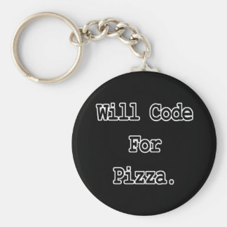 will code for pizza basic round button key ring