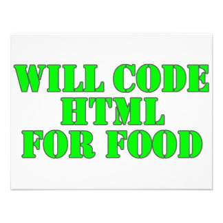 Will Code HTML For Food Personalized Announcements