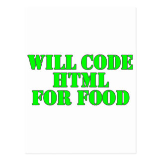 Will Code HTML For Food Postcard