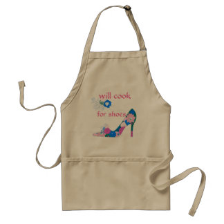 Will Cook for Shoes pink and blue Standard Apron