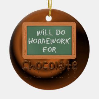 Will Do Homework For Chocolate Christmas Ornament