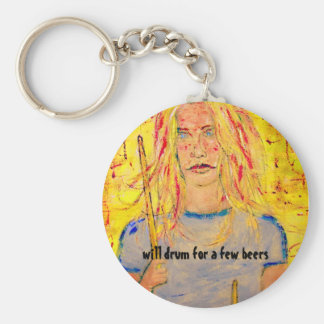 will drum for a few beers basic round button key ring