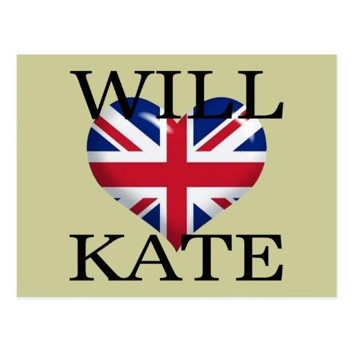 Will Heart Kate 1 Postcard