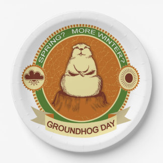 Will It Be? Groundhog Day Party Paper Plate 9 Inch Paper Plate