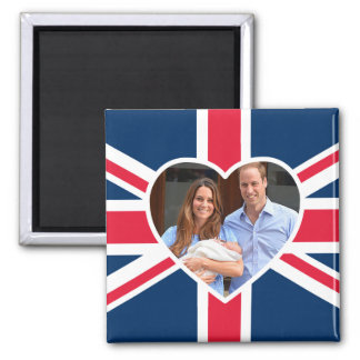 Will, Kate, Prince George - British Flag Square Magnet
