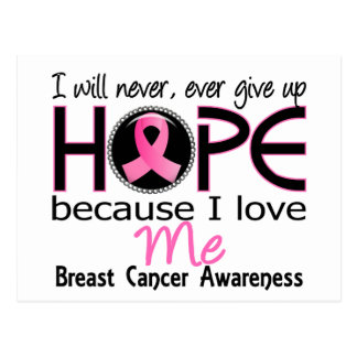 Will Never Give Up Hope Me Breast Cancer Postcard