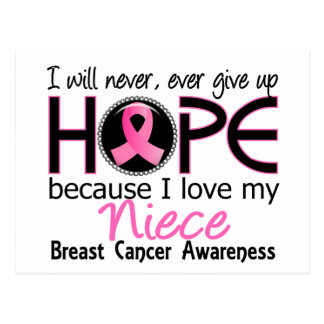 Will Never Give Up Hope Niece Breast Cancer Postcard