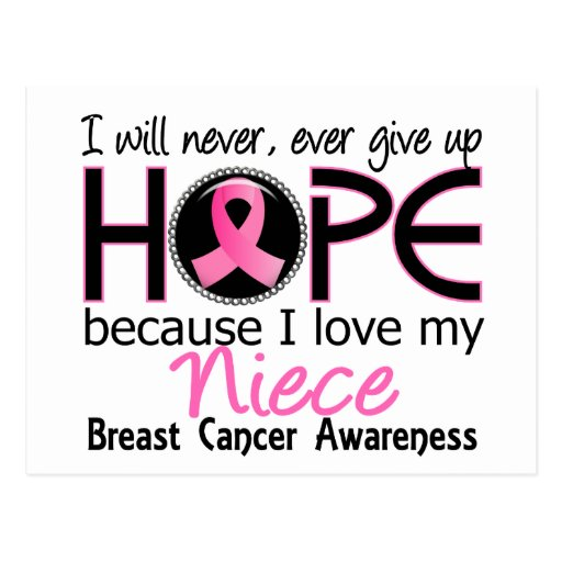 Will Never Give Up Hope Niece Breast Cancer Postcards