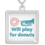 Will Play Baritone for Doughnuts Square Pendant Necklace