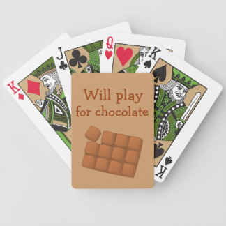 Will Play for Chocolate fun graphic Bicycle Playing Cards