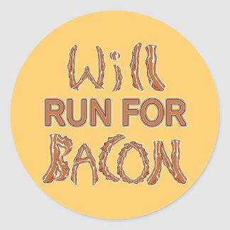 WILL RUN FOR BACON Running Tees & Gear Classic Round Sticker