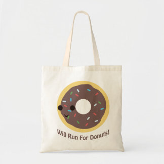 Will Run For Donuts - chocolate Tote Bag