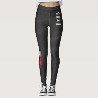 Will Run For Wine Leggings (Distressed Gray)