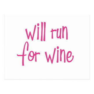 Will run for wine postcard