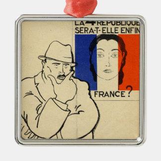 Will the 4th Republic still be France? Silver-Colored Square Decoration