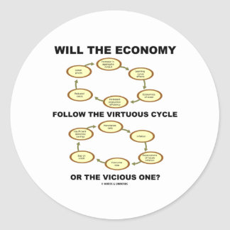 Will The Economy Follow The Virtuous Cycle Vicious Round Sticker