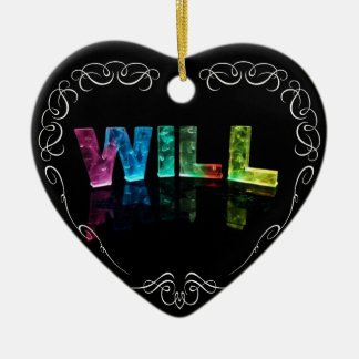 Will  - The Name Will in 3D Lights (Photograph) Ceramic Heart Decoration