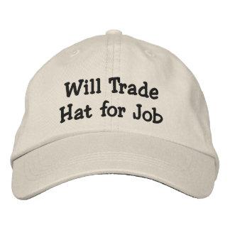 Will Trade Hat for Job Baseball Cap