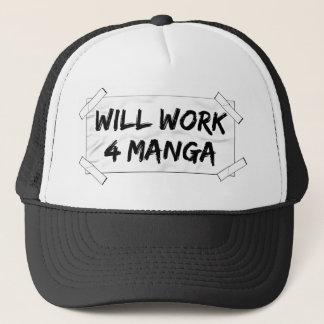 will work 4 manga trucker hat