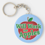 Will Work for Apples Basic Round Button Key Ring