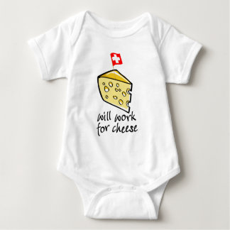 Will Work For Cheese Baby Bodysuit