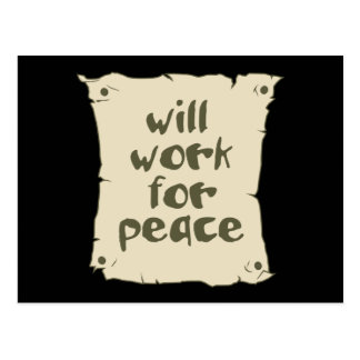 Will Work for Peace Postcard