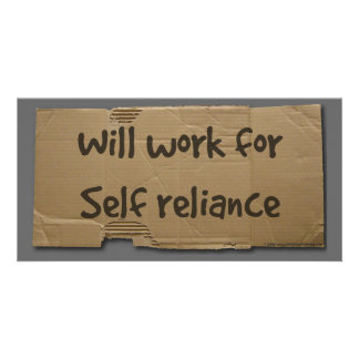 Will work for self reliance picture card