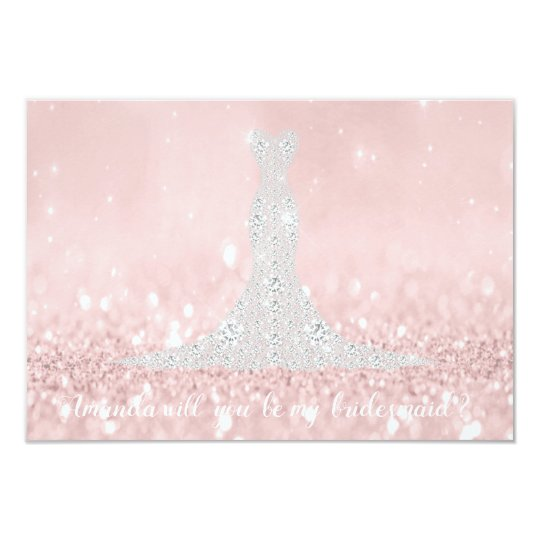Will You Be Bridesmaid Glitter Pink Diamond Dress Card