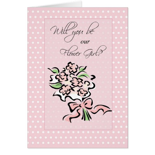 Will You Be Flower Girl, Pink, Polka Dots Card