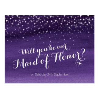 Will you be maid of honor starry sky wedding postcard