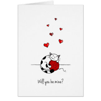 Will you be mine? Valentine's Day Card - Cute cat