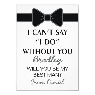Will You Be My Best Man Black Bow Tie 11 Cm X 16 Cm Invitation Card