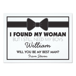 Will You Be My Best Man Black White Bow Tie Card