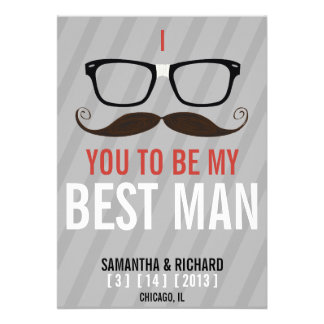 Will you be my Best Man Geek Glasses invite