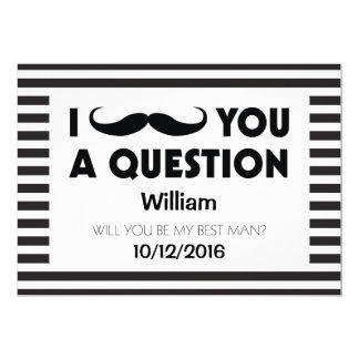 Will You Be My Best Man Moustache Black Stripes Card