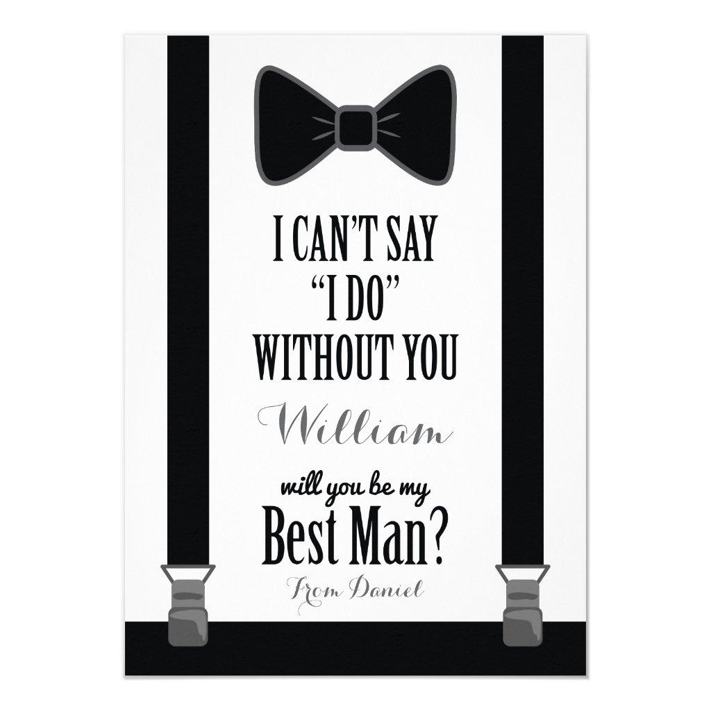 Will You Be My Best Man - Tuxedo Tie Braces Card