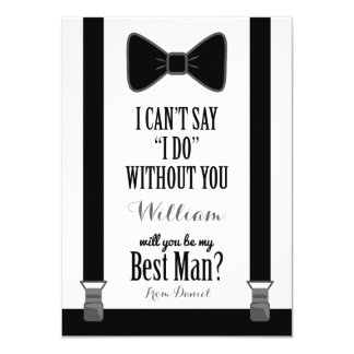 Will You Be My Best Man - Tuxedo Tie Braces Card