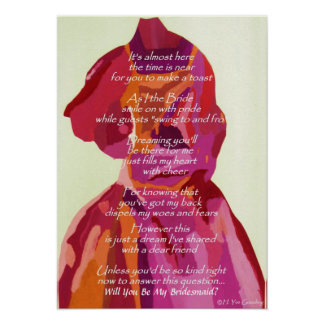 """""""Will You Be My Bridesmaid"""" Autumn Wedding Poster"""