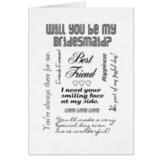 Will You Be My Bridesmaid, Best Friend? Greeting Card