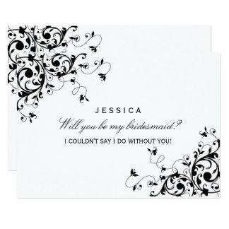 Will You Be My Bridesmaid? Black & White Swirl 13 Cm X 18 Cm Invitation Card