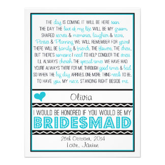 Will you be my Bridesmaid Blue Black Poem NIECE Invitation