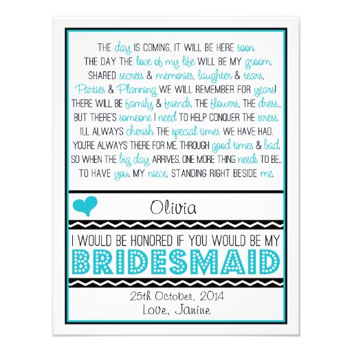 Will you be my Bridesmaid? Blue/Black Poem NIECE Invitation
