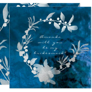 Will You Be My Bridesmaid Blue Glass Gray Wreath Card