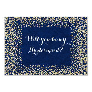 Will You Be My Bridesmaid Blue Gold Navy Faux Card