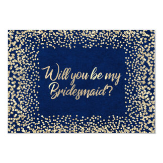 Will You Be My Bridesmaid Blue Navy Glitter Gold Card