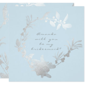 Will You Be My Bridesmaid Blue Pastel Gray Wreath Card