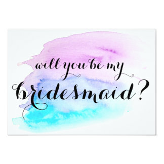 Will you be my bridesmaid? Blue Purple Watercolor 13 Cm X 18 Cm Invitation Card
