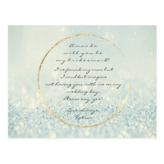 Will You Be My Bridesmaid Blue Warm Gold Glitter Postcard
