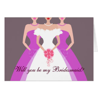 Will you be my Bridesmaid? Bridal Party (purple) Greeting Card